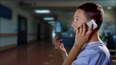 4K Difficult Phone Call Conversation, Hospital Patient, Medical Bad News Stock Footage