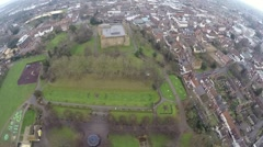 Aerial view of Colchester castle Stock Footage