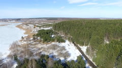 Aerial view of Russian nature spring Stock Footage