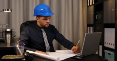 Confident Engineer Man Examining Draft Map and Drawing Designing Layout Sketch Stock Footage