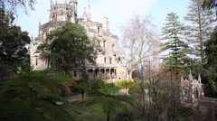 Pan of Quinta Da Regaleira Estate Palace, Sintra, Portugal Stock Footage