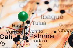 Palmira pinned on a map of Colombia Stock Photos