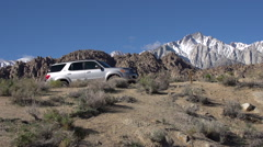 Scenic hiking trail in mountainous desert. Stock Footage