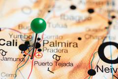 Puerto Tejada pinned on a map of Colombia Stock Photos