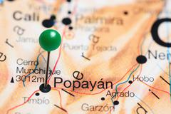 Popayan pinned on a map of Colombia Stock Photos