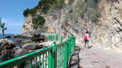Long narrow path by a 250m along the cliffs is the only accessible way to Mogren Stock Footage