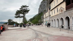 Cave-churche facade and square are in Ostrog Monastery. Upper Ostrog Monastery  Stock Footage