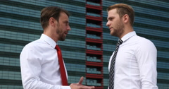 Handsome Businessmen Cooperation Downtown Centre Area Partnership Collaboration Stock Footage