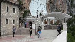 Upper Ostrog Monastery is in Ostroska Greda cliff. Montenegro Stock Footage