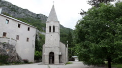 Ostrog. The monastic residences. The Serbian Orthodox Church. Montenegro Stock Footage