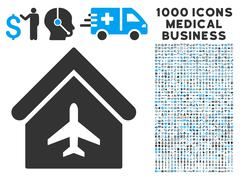 Aircraft Hangar Icon with 1000 Medical Business Symbols Stock Illustration