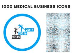 Annual Gentleman Help Icon with 1000 Medical Business Symbols Stock Illustration