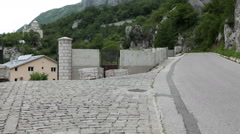 Entrance gate to the lower monastery of Ostrog. Montenegro Stock Footage