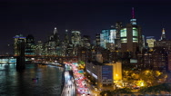 Lower Manhattan and FDR Drive New York City Night Timelapse Stock Footage