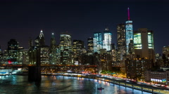 Lower Manhattan in New York City Night Timelapse Stock Footage