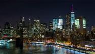 Lower Manhattan in New York City Night Timelapse Stock Footage