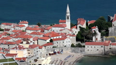 Medieval walled fortifications of Budva city. Montenegro Stock Footage