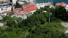 Old town of Budva is named Castle of St Mary, walled fortification with red roof Stock Footage