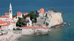 Popular tourist visiting place in Budva city - old town. Montenegro Stock Footage