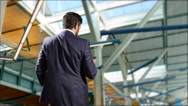 4K Man on Phone, Business Travel, Airport Building, Modern Business Stock Footage