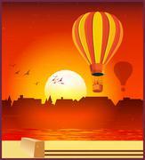 Balloons in the setting sun Stock Illustration