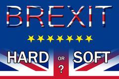 Brexit hard or soft exit option poster Stock Illustration