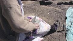 Woman sharpening scissors on stone Stock Footage