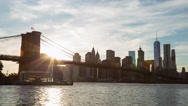 Beautiful New York City Sunset Brooklyn Bridge and Lower Manhattan Day Timelapse Stock Footage
