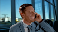4K Business Man on Phone, Air Travel, Mobile Work Stock Footage