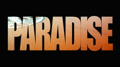 4K Paradise Sand Beach Waves, Animated Broadcast Design Typography Text Stock Footage