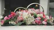 Wedding decorations and scenery by car roof Stock Footage