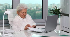 Wrinkled Mother Old Woman Examining Invoices Worried and Counting Cash Usd Bills Stock Footage