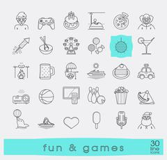 Set of premium quality line fun and games icons. Stock Illustration