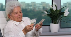 Aging Adult Senior Person Business Woman Counting Money Euro Bills Cash Salary Stock Footage