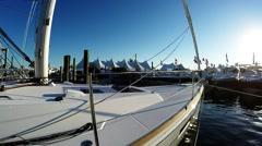Walking around Beneteau boat Stock Footage