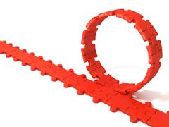 Red puzzle ring rotating over puzzle chain Stock Illustration