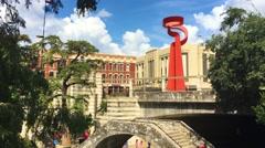 Establishing Shot of La Antorcha de la Amistad and Riverwalk in San Antonio Stock Footage
