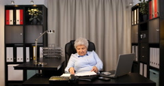 Retired Grandma Counting Money Cash Paying Debt Invoices in Home Apartment Room Stock Footage