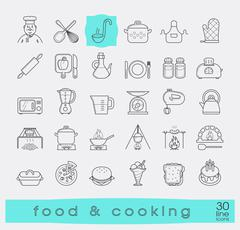 Set of premium quality food and cooking icons. Piirros