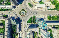 Aerial city view. Urban landscape. Copter shot. Panoramic image Stock Photos