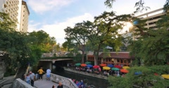 Evening Establishing Shot San Antonio Riverwalk Stock Footage