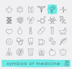Medical and pharmaceutical symbols. Stock Illustration