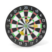 Dartboard with three orange darts on bullseye. Front view. 3D Stock Illustration