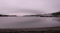 Timelapse of Cruise Ship Saga Pearl 2 departing Campbeltown Kintyre Scotland Stock Footage