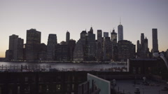 New York City Shot of Manhattan from Brooklyn Heights Stock Footage