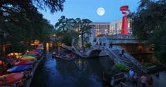 Night Establishing Shot San Antonio Riverwalk Stock Footage