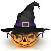 Funny Jack O Lantern. Halloween pumpkin with purple glasses, wearing a witch' Stock Illustration