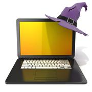 3D rendering of a open black laptop with Halloween colored screen and purple  Stock Illustration