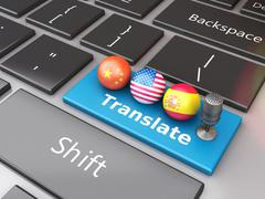 3d Translate foreign languages on computer keyboard Stock Illustration