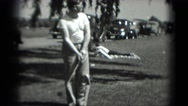 1946: man practices golfing WASHINGTON, DC Stock Footage